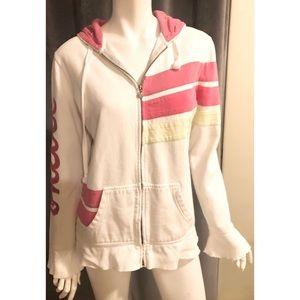 O'Neil White Pink Long Sleeve Hoodie